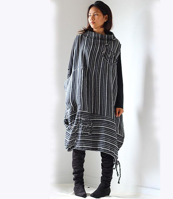 Low Turtle Neck dress 1406  One size by cocoricooo on Etsy, $45.00
