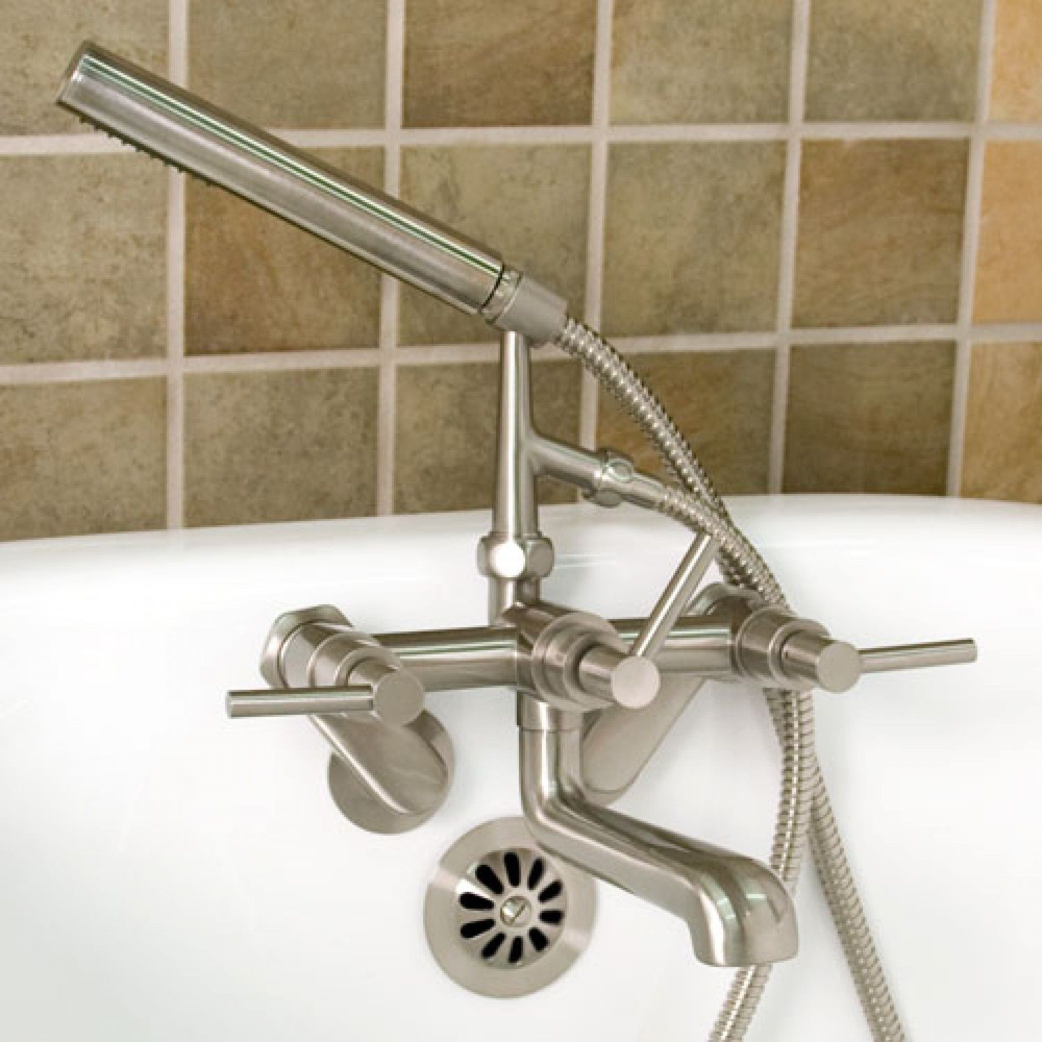 Whittington Tub Wall Mount Faucet With Hand Shower Lever Handles