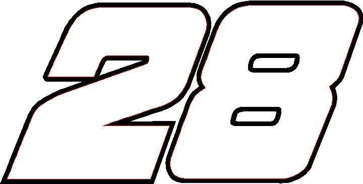 number 28 | NASCAR Decals :: 28 Race Number Decal / Sticker