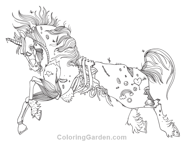 Free printable zombie unicorn adult coloring page Download it in
