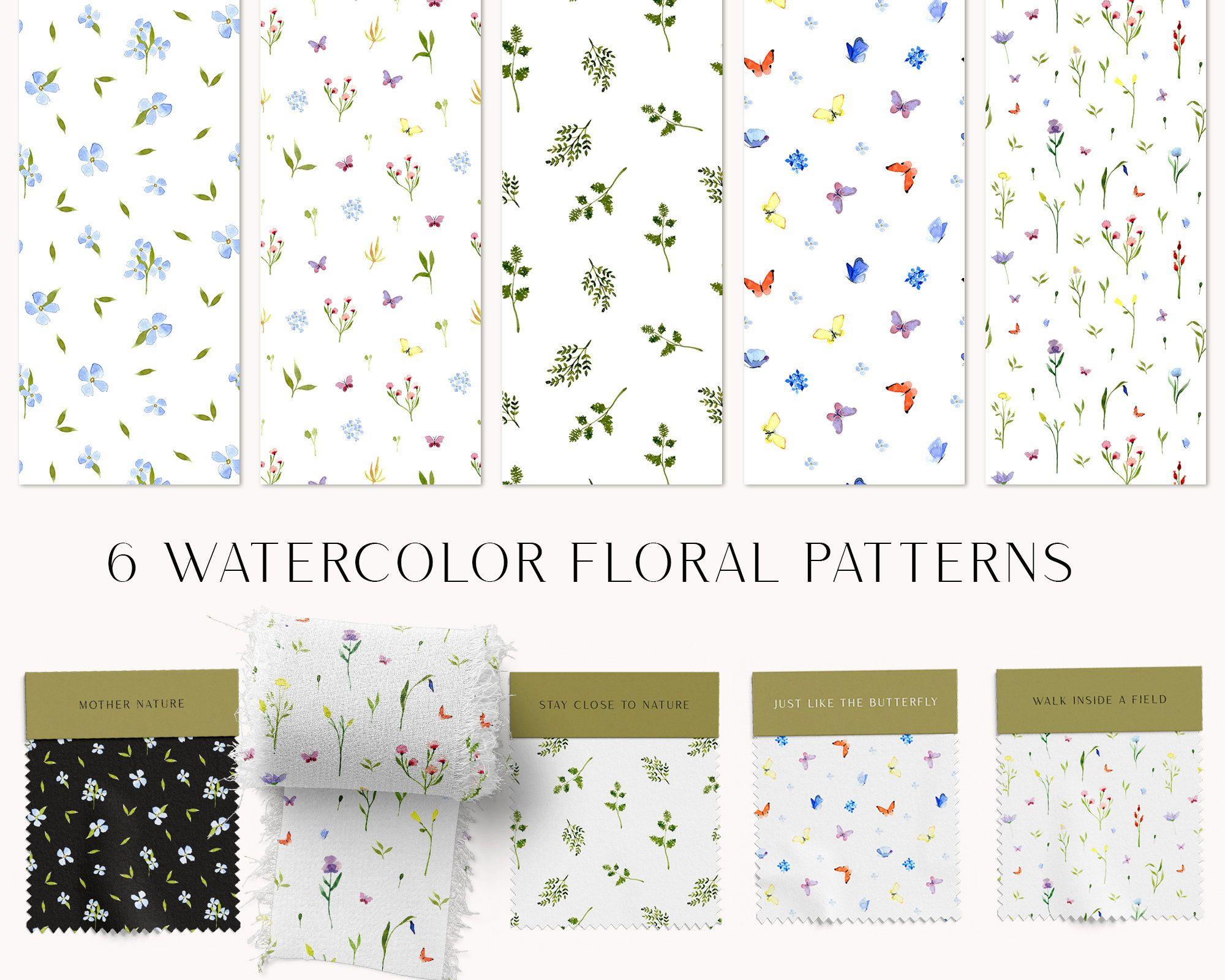 Watercolor flowers seamless digital patterns Wildflowers print watercolor floral digital paper pack