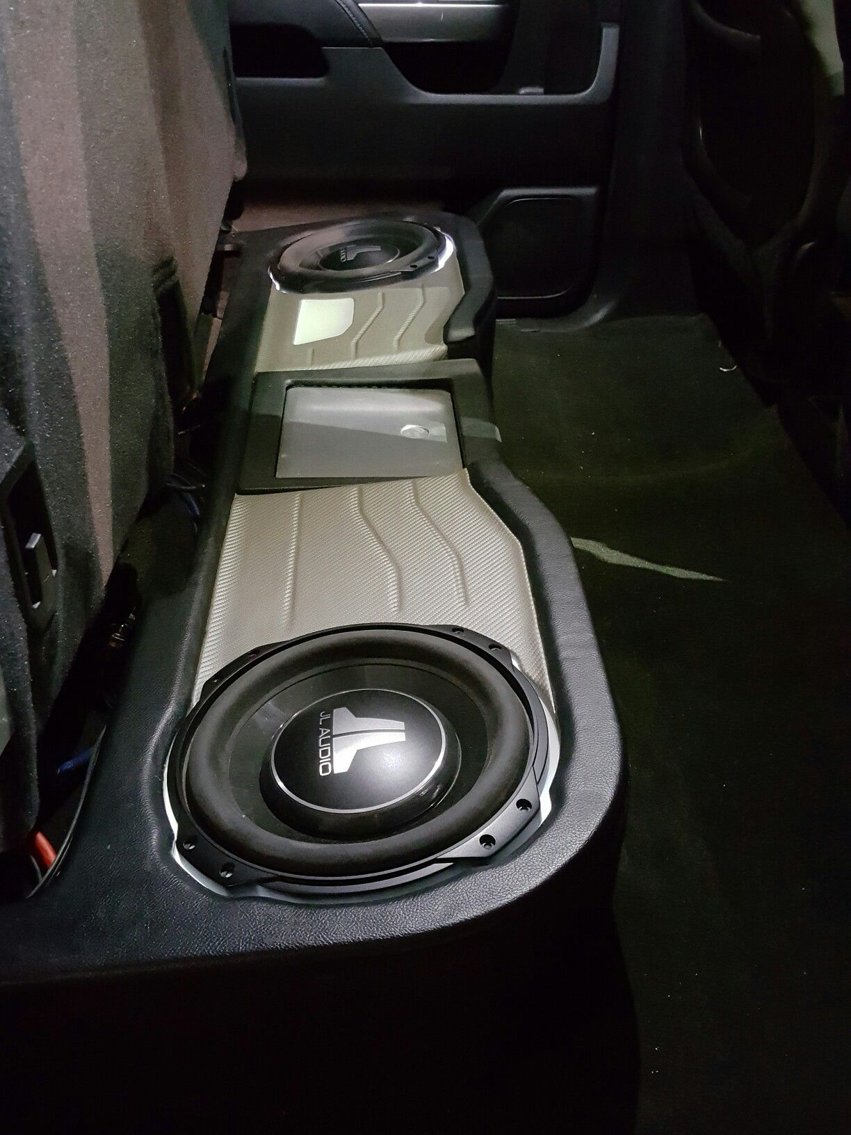 Chevy Underseat Enclosure For 2 Jl Audio Shallow Subs With Led Trim Rings Around The Subs Soundtheorycustom Truck Audio Car Stereo Systems Truck Audio System