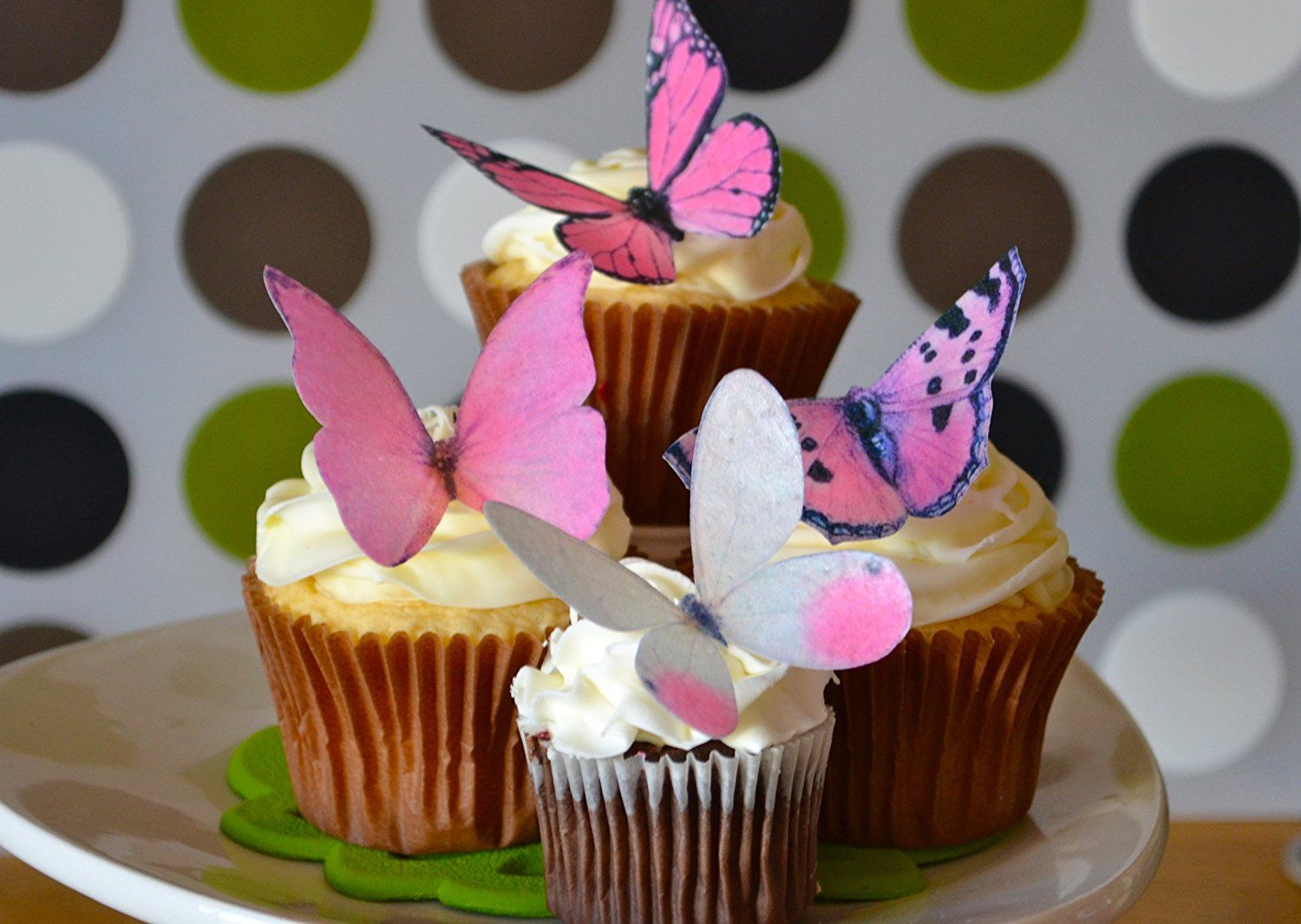 Edible Butterflies © Large Pink Set of 12 Cake and
