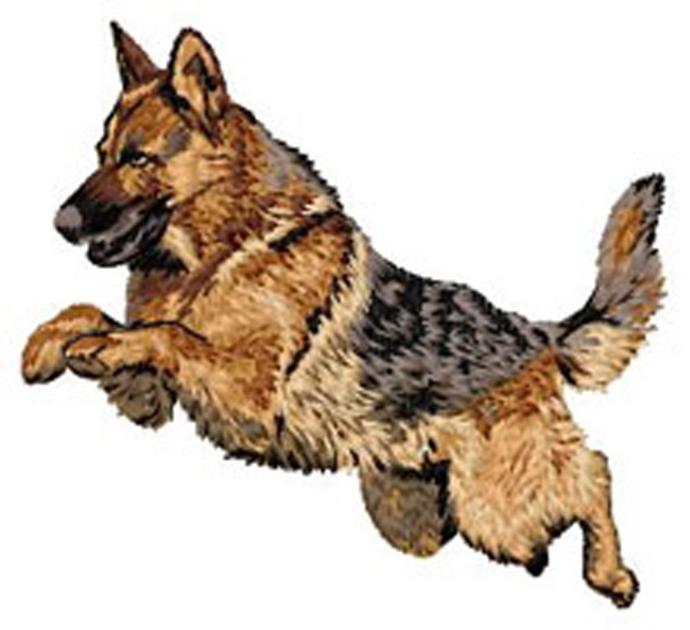 German shepherd dog leaping embroidery patch larger size
