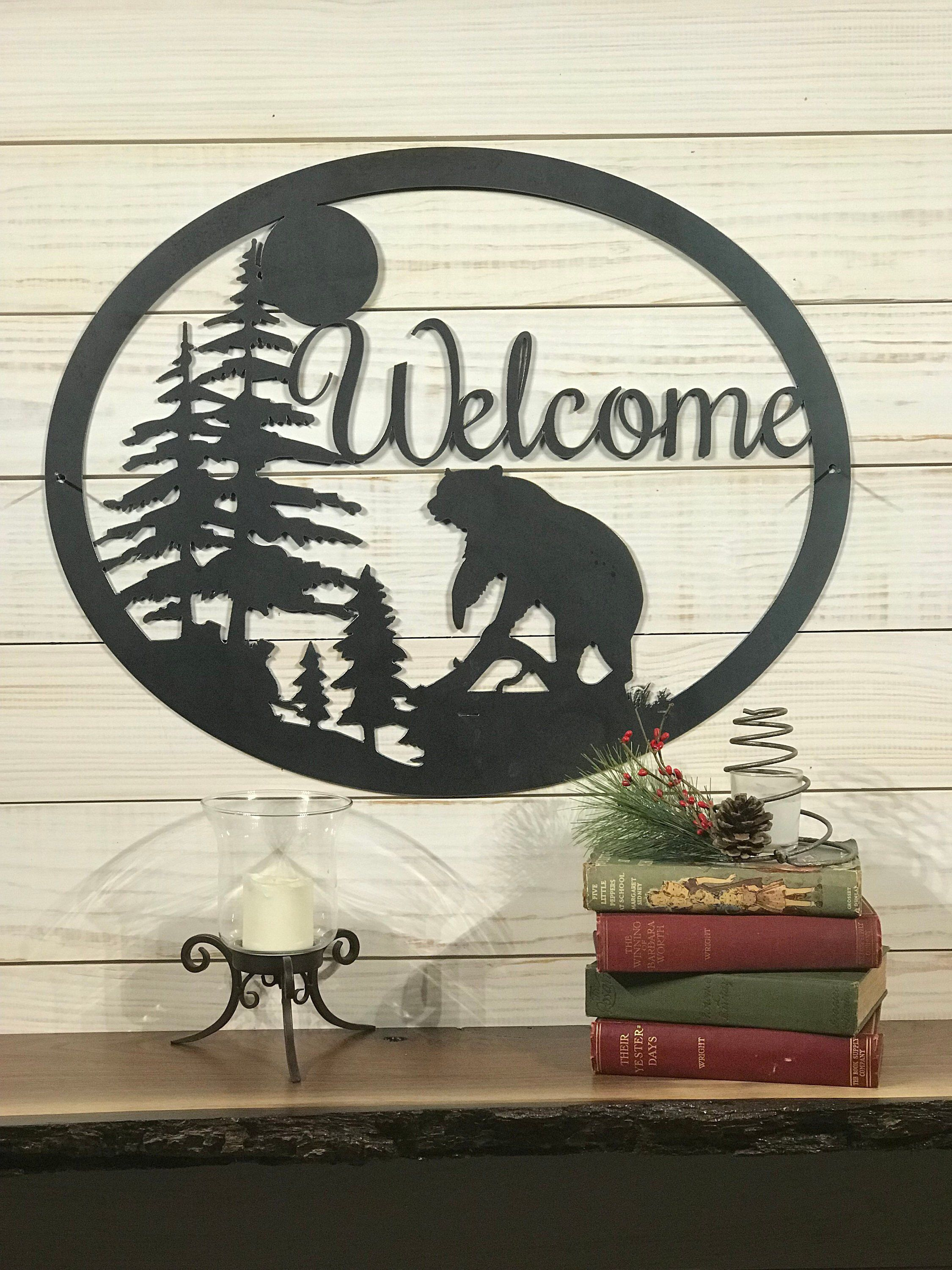 Large Metal Bear Welcome Sign 36 Inch Rustic Metal Decor Hunting Gift Large Metal Sign By Precision Metal Farm Sign Custom Metal Signs Rustic Metal Decor