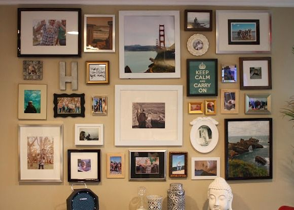 Photo Wall With Different Colored Frames And Shapes Frames On Wall Wall Gallery Gallery Wall