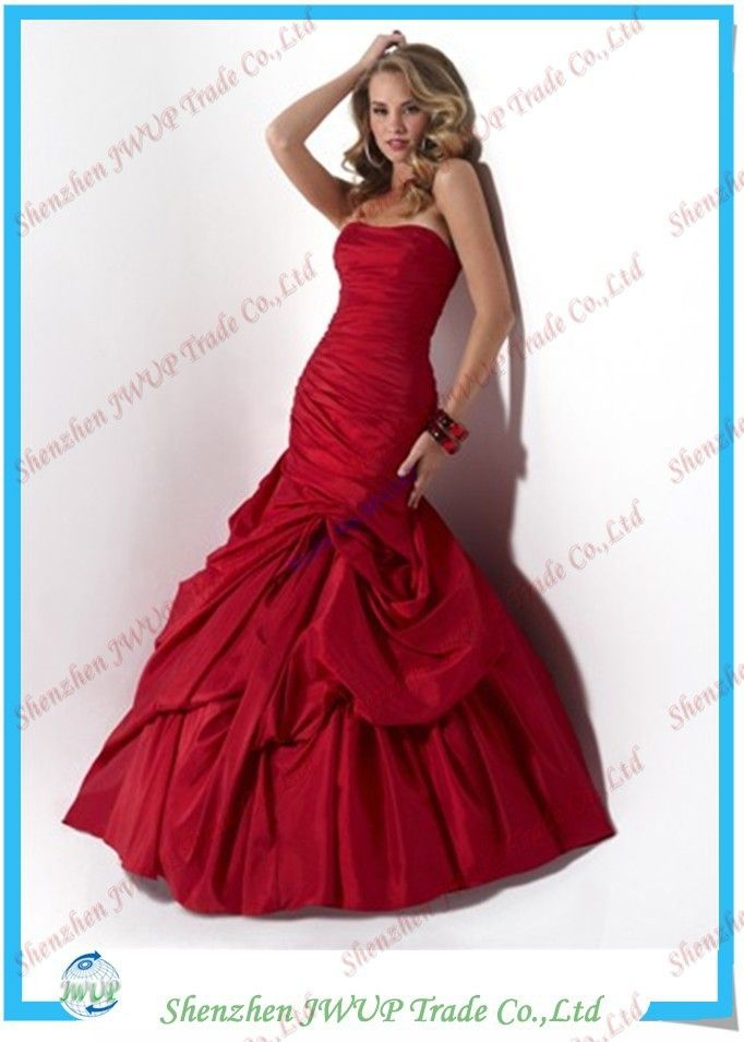 Free Shipping Vogue Red Mermaid Satin Size 22 Evening Dresses ...