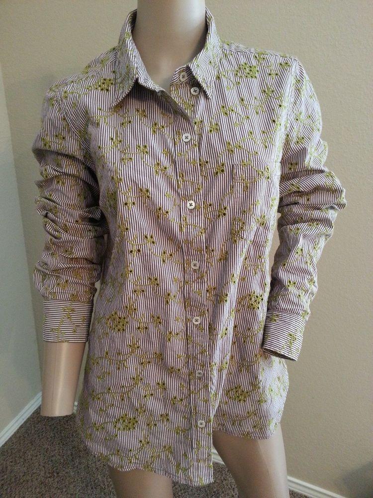 dbac42990a2021 Odille Anthropologie Green Eyelet Stripe Cotton Button Down Blouse Shirt Top  6  Odille  Blouse