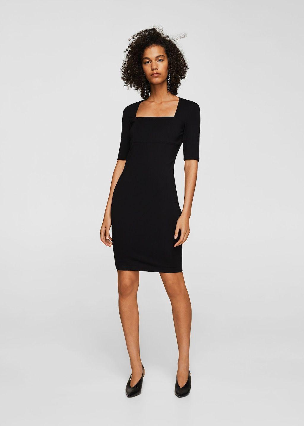 Squared Neckline Dress Women Mango Usa Square Neckline Dress Short Dresses Fashion [ 1432 x 1024 Pixel ]