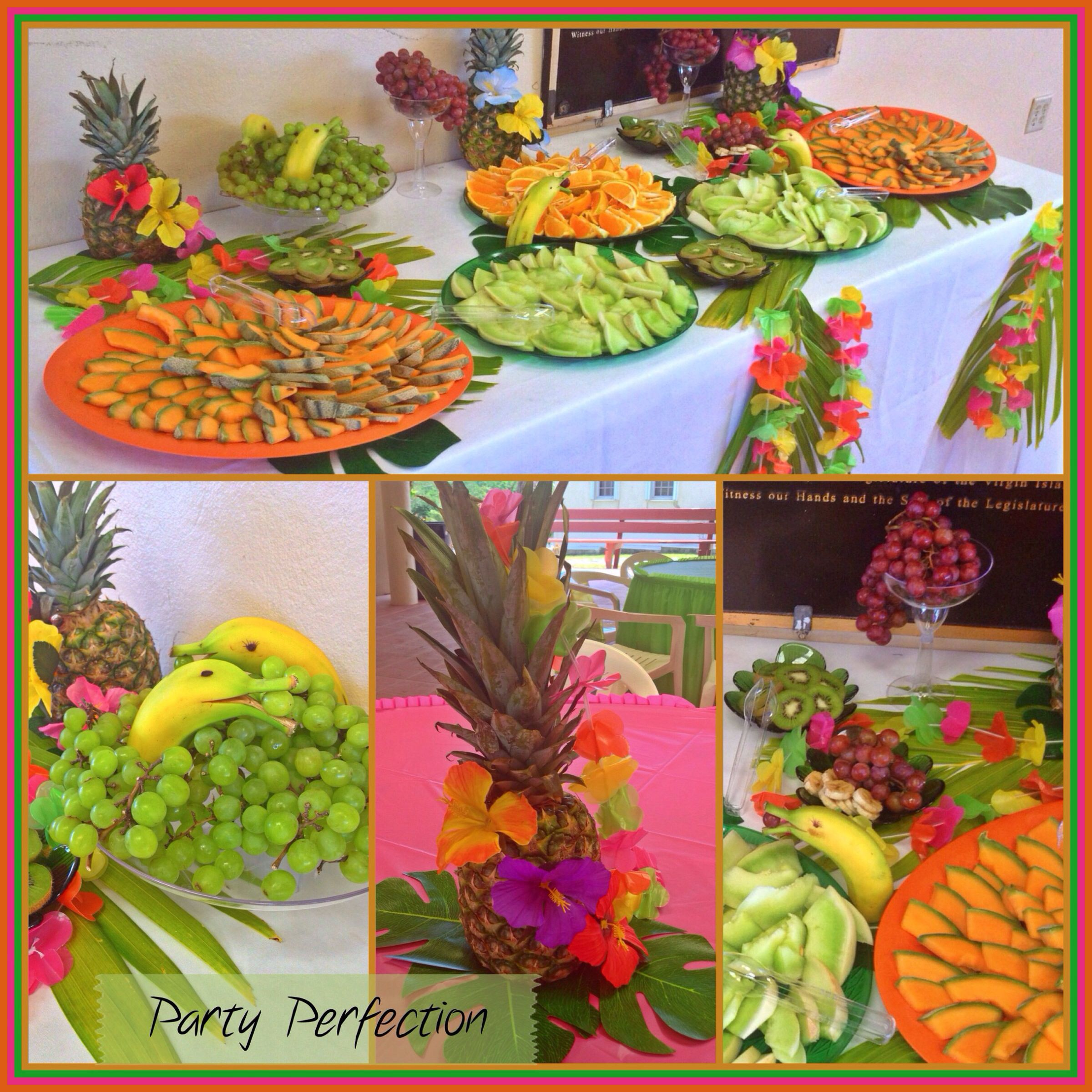 Hawaiin Luau Baby Shower Fruit Table By Party Pefection Baby