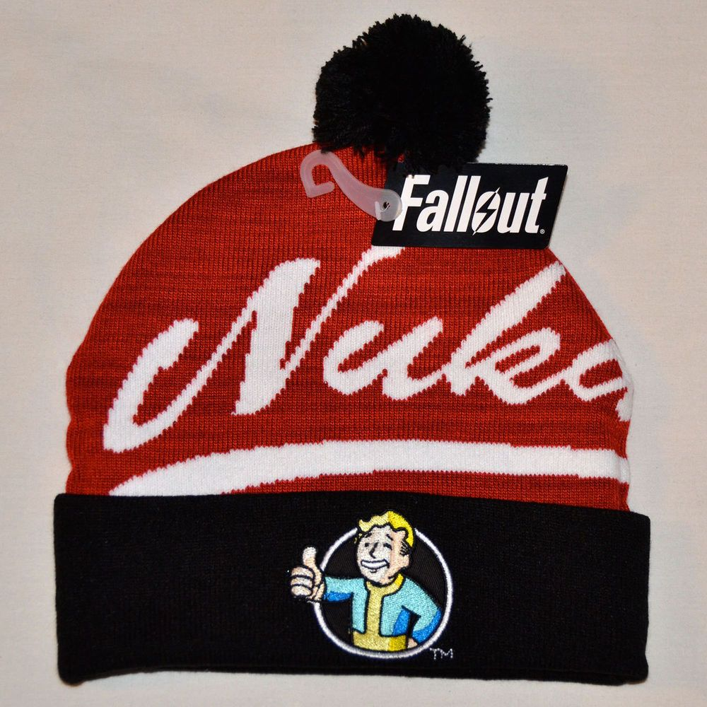 0e5605ca770 New Fallout 4 Nuka Cola Logo Knit Cap Target Exclusive Beanie Pom Hat Vault  Boy