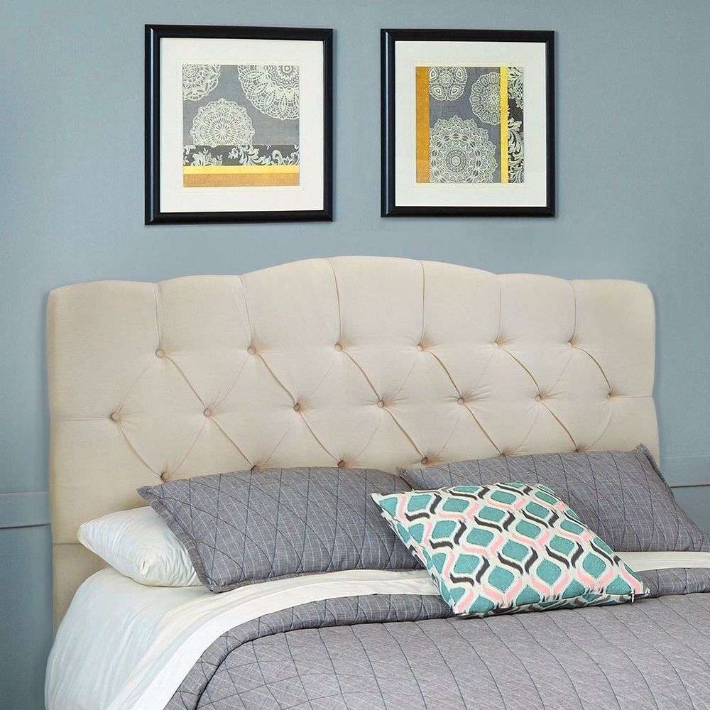 Queen full upholstered headboard bed frame button bedroom furniture