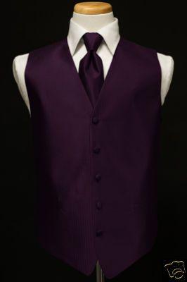 Black Tux With Purple Vest And Tie New Medium Raisin