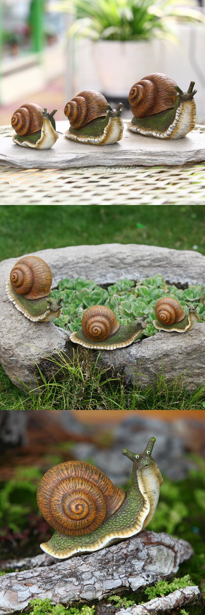 3pcs/lot Kawaii Artificial Cute Snail Resin Crafts Home Decoration ...