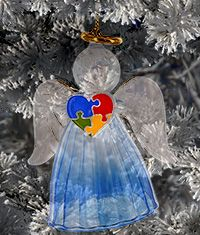 Autism Awareness Glass Angel Ornament at The Autism Site