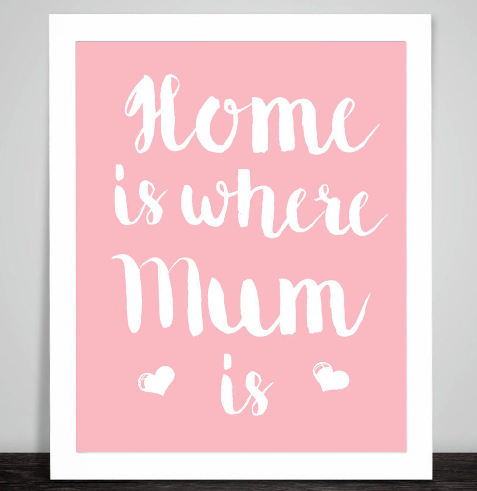 Funny Poster Gift For Her Printable Art Inspirational: Home Is Where Mum Is Art Print Inspirational Poster For