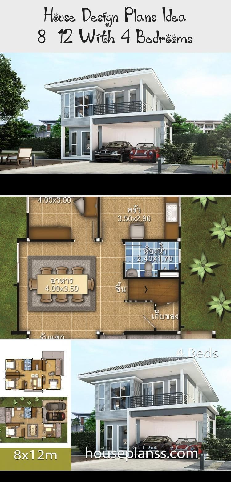 House Design Plans Idea 8x12 With 4 Bedrooms Home Ideassearch Floorplans4bedroomwithbonusroom Floorplans4bedroomsmall In 2020 House Design Home Design Plans House