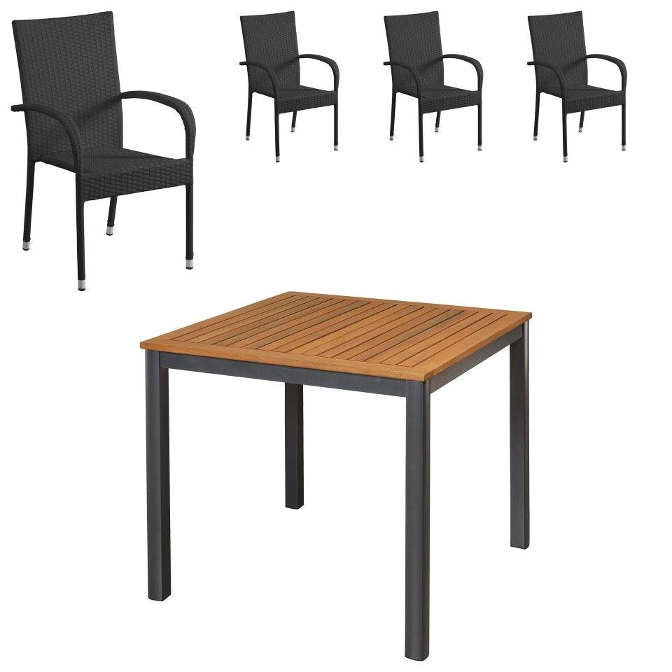 Gartenmöbel-Set San Francisco/Palermo (90x90, 4 Stühle, schwarz ...