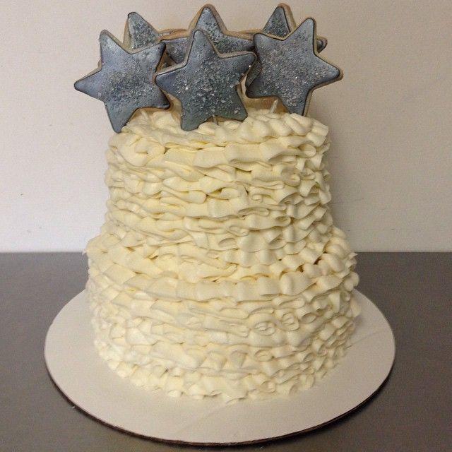 Twinkle Twinkle Little Star Buttercream Ruffles Cake with Silver ...