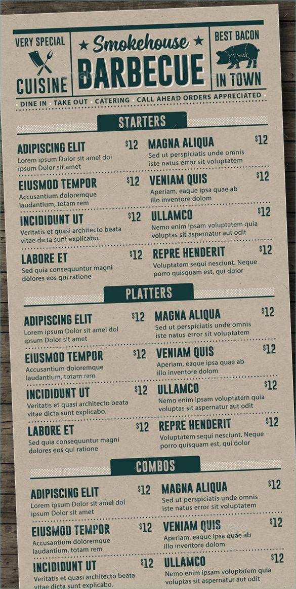BBQ Menu Template – 22+ Free PSD, EPD Documents Download! | Free ...