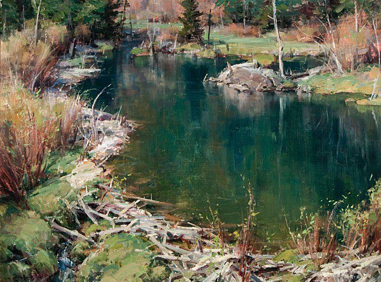 Clyde Aspevig (1951–Present), Beaver Pond, oil on linen, 30 x 40 in, JHAA 2011 Sold: $43,125