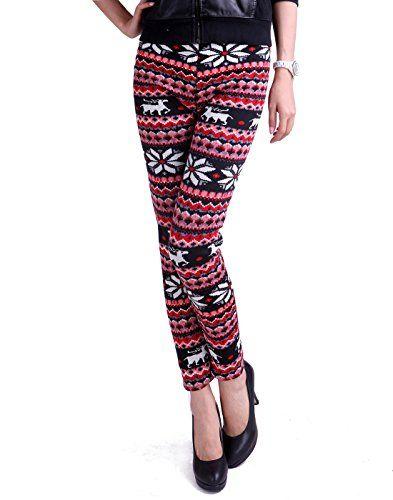 d017b915290898 HDE Women's Funky Snowflake & Reindeer Nordic Pattern Fleece Lined  Knitted Winter Leggings (Rudolph