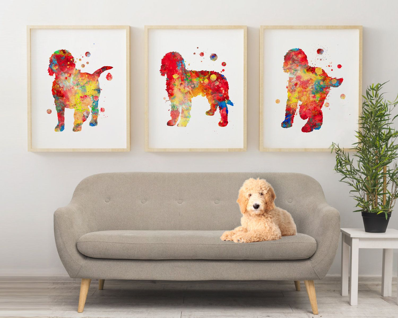 Goldendoodle Watercolor Print Set Goldendoodle Wall Decor Dog