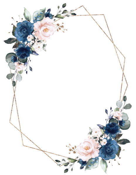 Romantic Navy Blue Blush Floral Geometric Wedding