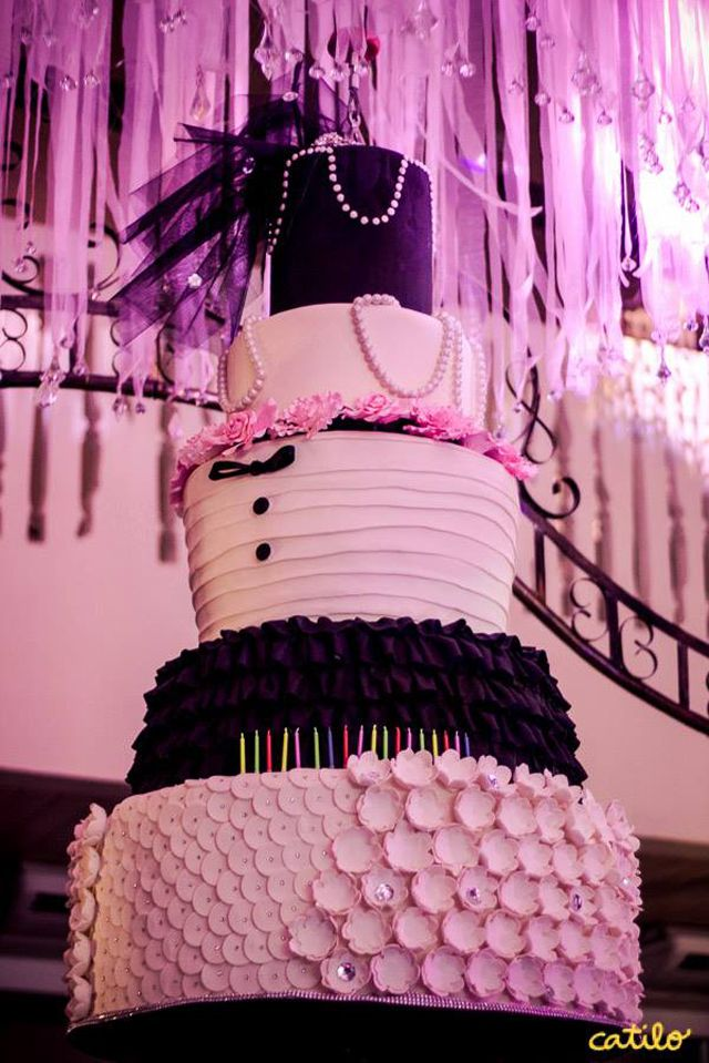 This black and white stylish cake was Kathryns cake for her 18th