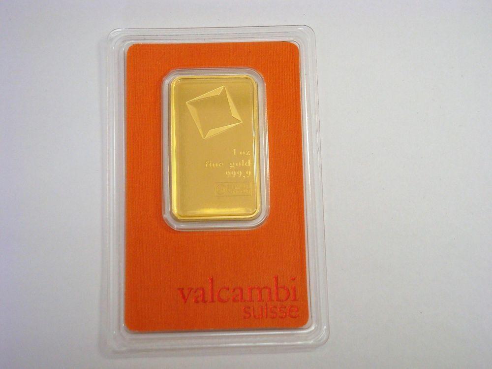 1 Oz 999 9 Fine Gold Bullion Bar With Serial Number Valcambi Suisse Goldbullionbars Goldcoins