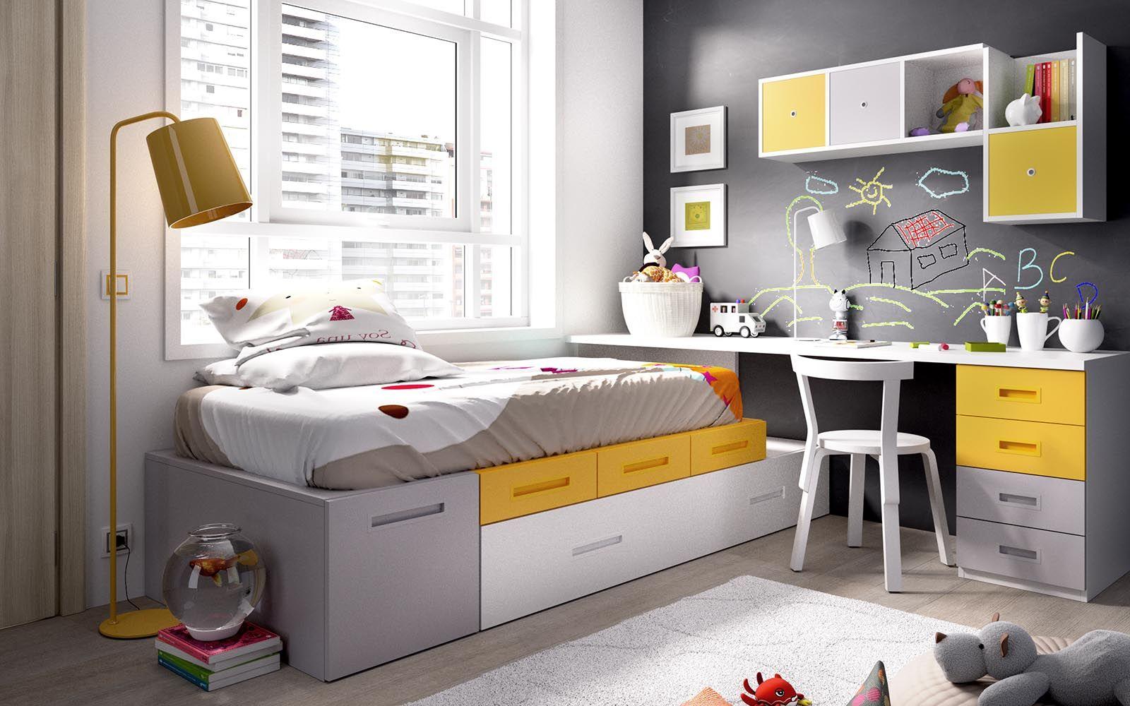 Dormitorio juvenil con gran capacidad dormitorios - Dormitorio pequeno juvenil ...