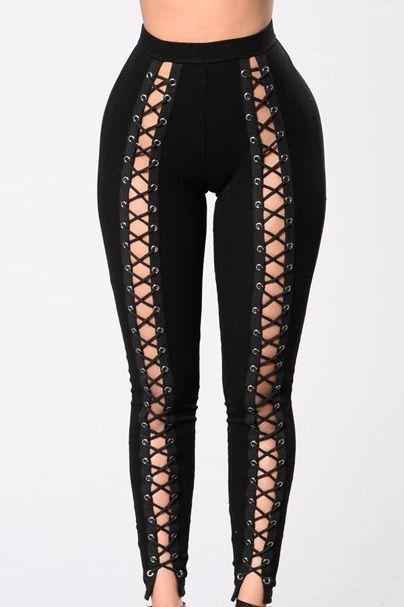 3151bdd0e6b8c FRONT CRISS-CROSS PANTS | Fashion | Lace up leggings, Leggings ...