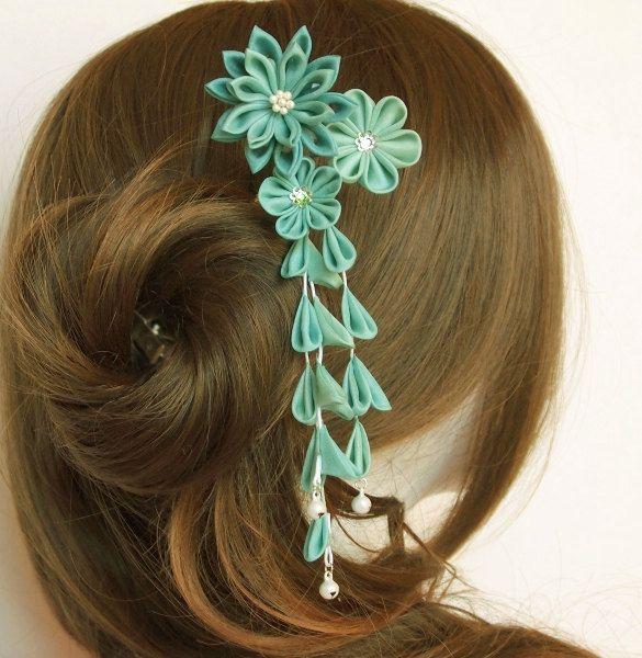 Teal Silk Flower Kanzashi Hair Fork by MizuSGarden on Etsy