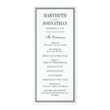 Simple and Elegant Wedding Ceremony Program - wedding invitations ...