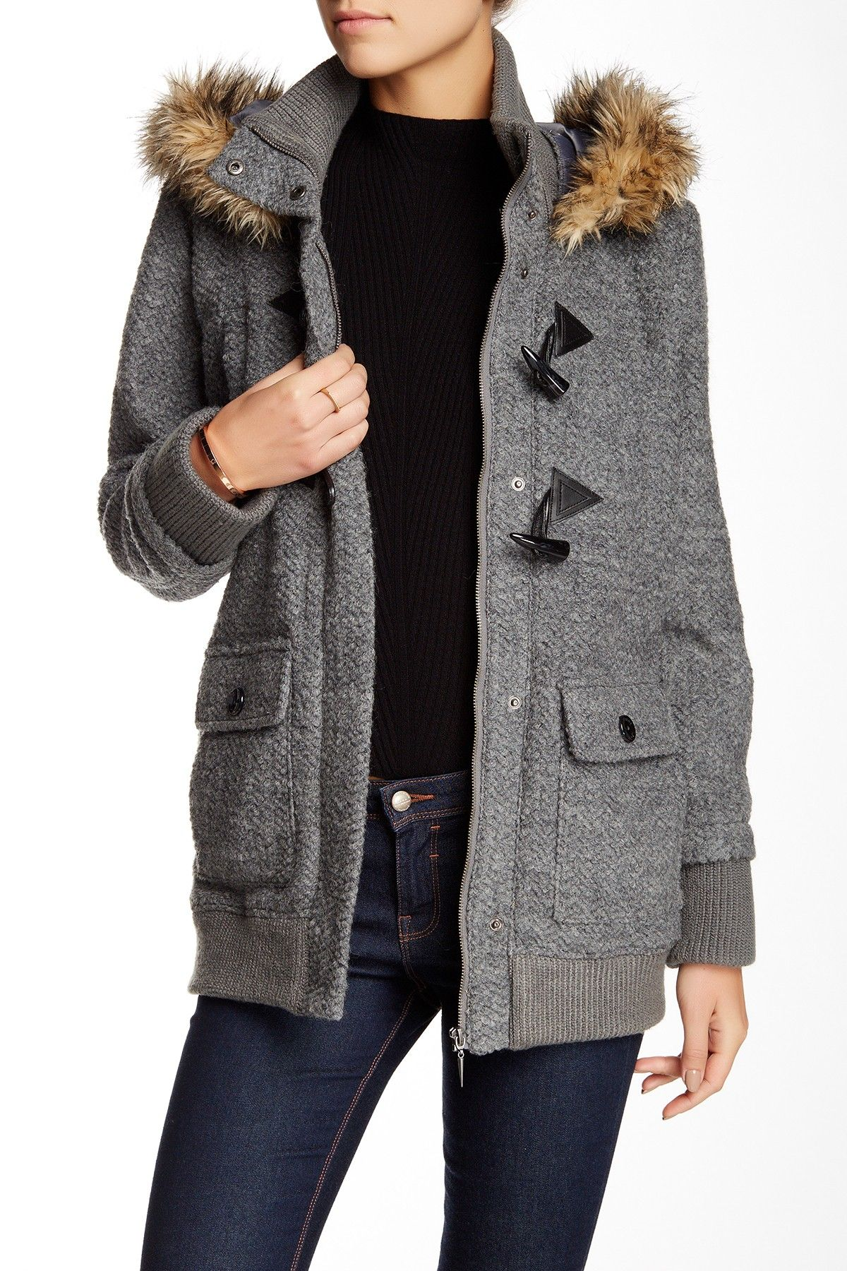 Faux Fur Wool Blend Jacket by Rachel Roy on @HauteLook