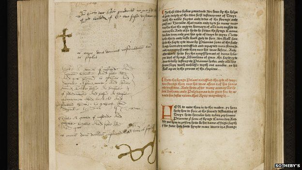 The Recuyell of the Histories of Troye - known as the first book to be printed in the English language. Version of a French book written about 1463. Sold at auction (2014) for over £1m.