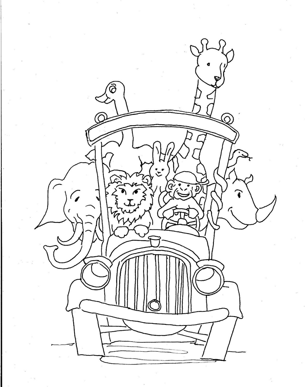 Animal School Bus Printable Drawing Page Cool coloring
