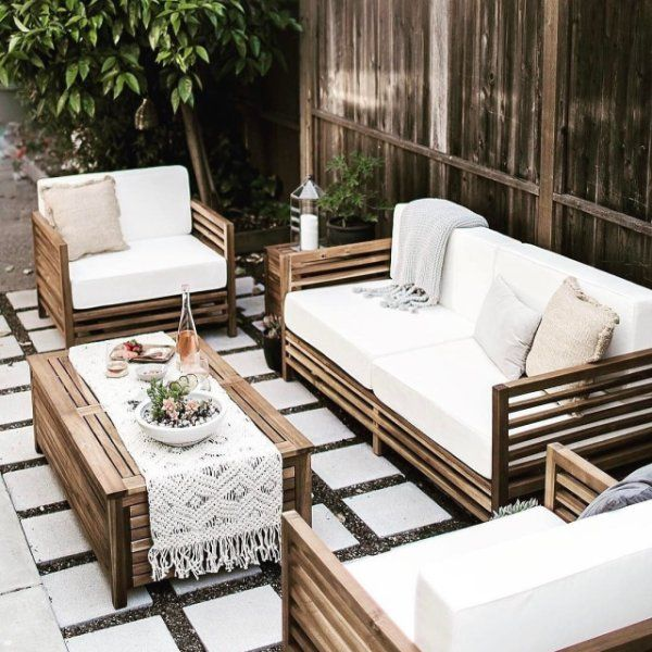 Love This Outdoor Furniture Set From World Market Really Beautiful Wood Lines And Perfect As A Neutral Background Patio Living