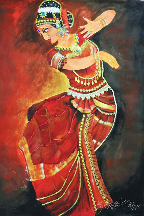 Bharatanatyam Dancer Acrylic Painting Jewelled By Hykaur On Etsy Dance Paintings Indian Art Paintings Dancer Painting