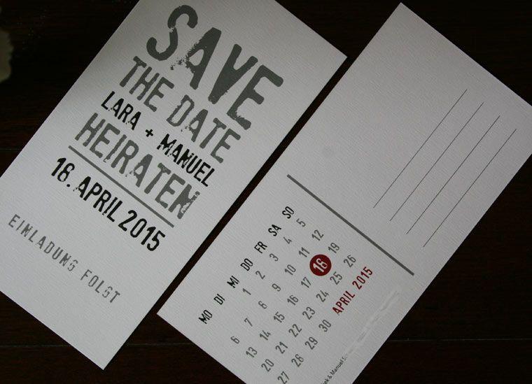 Save The Date   Postkarte Mit Kalender