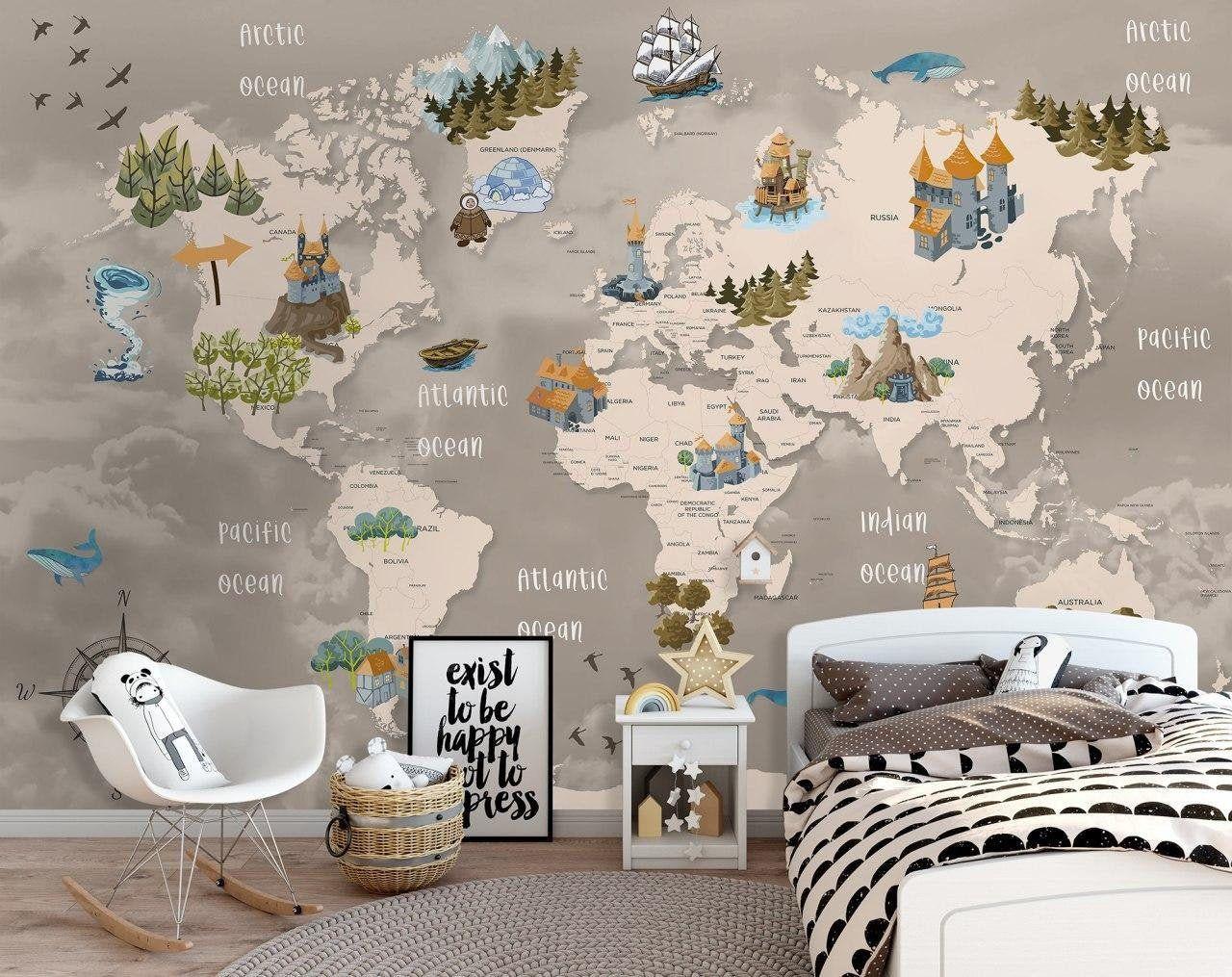 Kids Wallpaper Peel and Stick Self Adhesive World Map