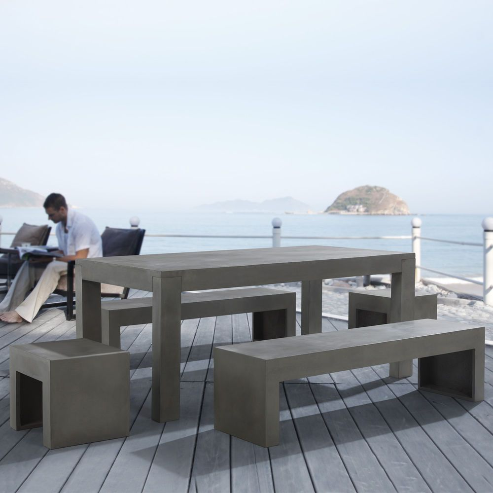 Furniture Set Concrete Table Bench Stool Taranto Patio Beton Outdoor