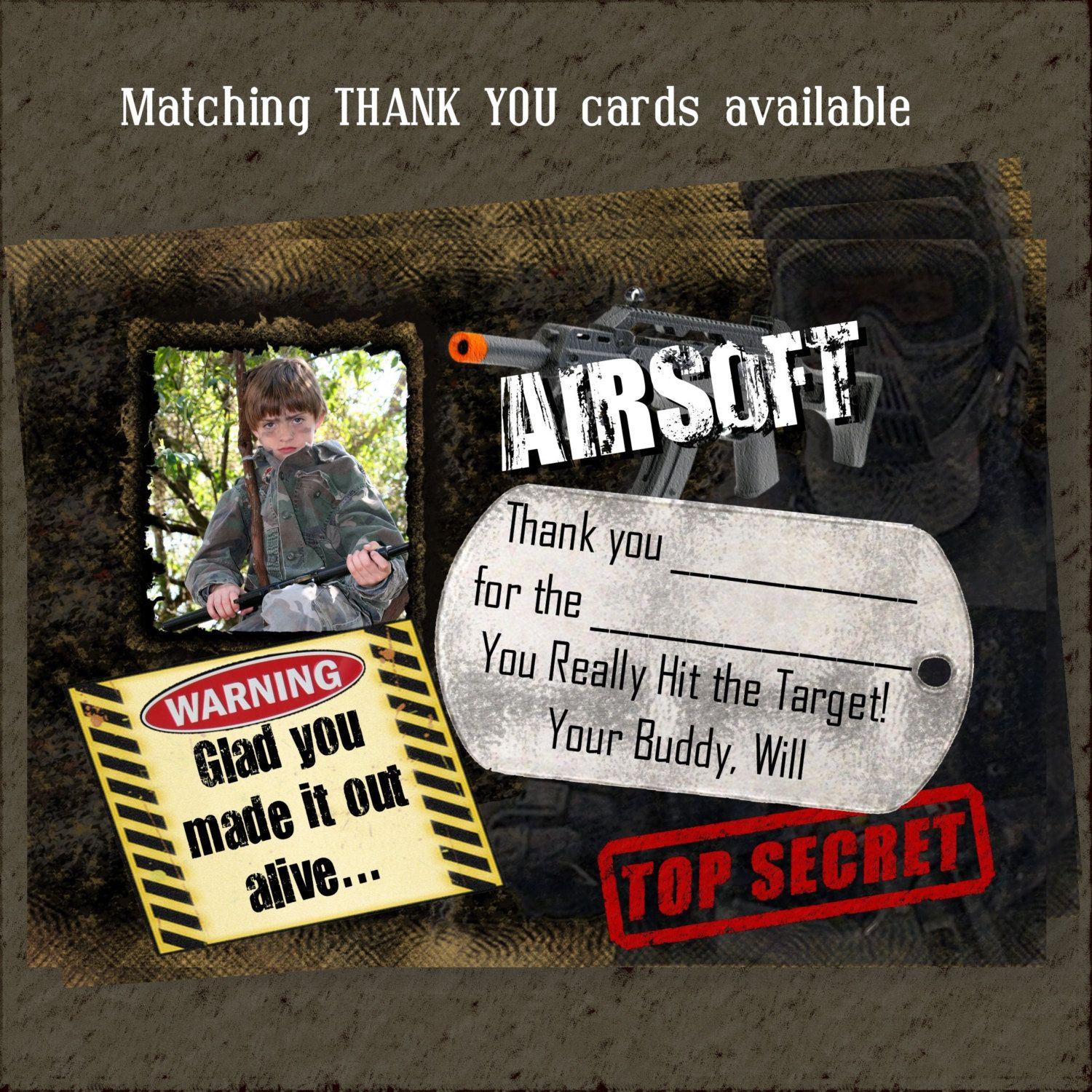 AIRSOFT Thank you cards to match Custom airsoft invitations. One
