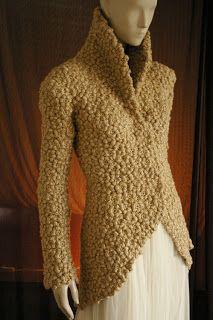 Crochet Marguerite Chrysanthemum Jacket with high collar