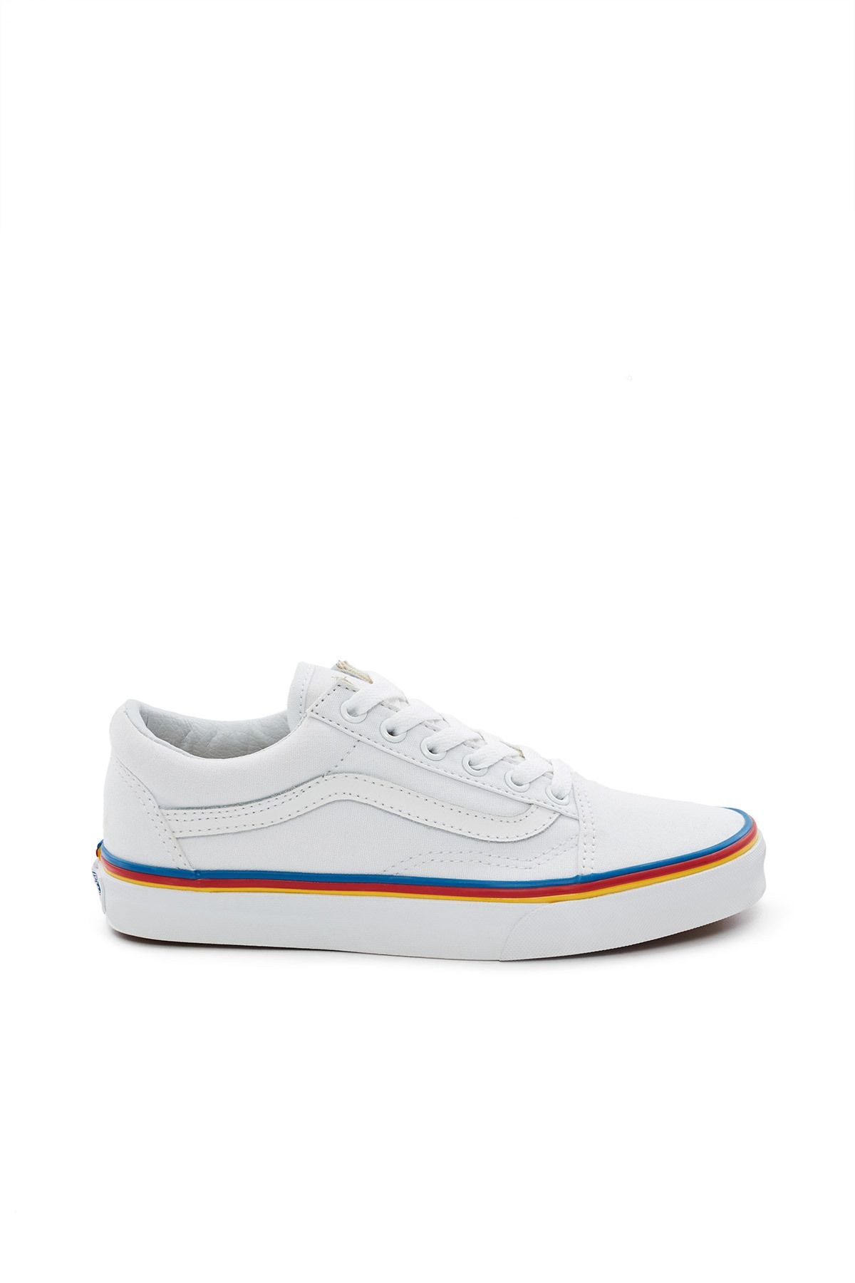f15c2e6083 Vans, Old Skool Sneaker Vans' iconic Old Skool sneakers are rendered in an  all-white canvas upper with tri-color blue, red, and yellow foxing stripes  that ...