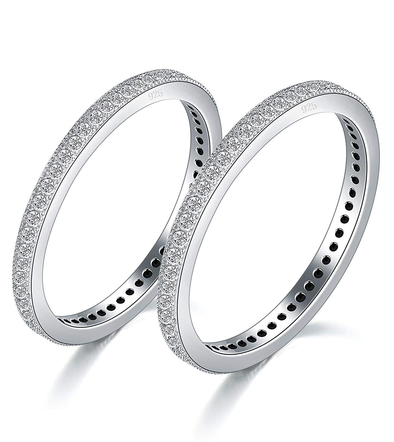 BORUO 2MM 925 Sterling Silver Ring, Cubic Zirconia CZ