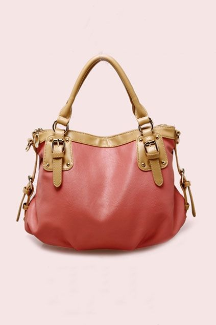 The shoulder bag made of PU, featuring top zipped closure, simple style, pin buckle embellishment to front, a detachable shoulder strap.