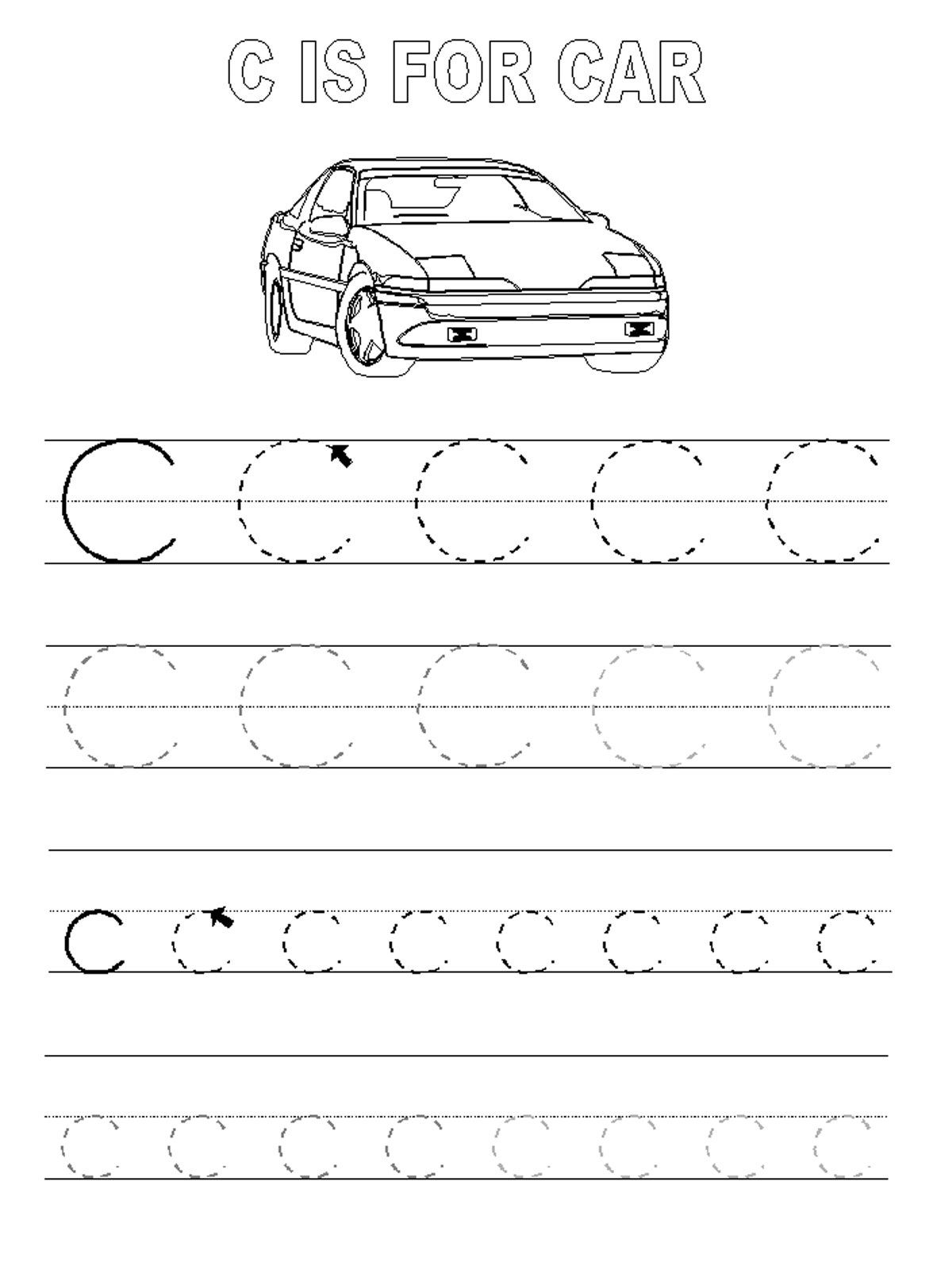 Trace the Letter C Worksheets Activity Shelter – Printable Letter Worksheets