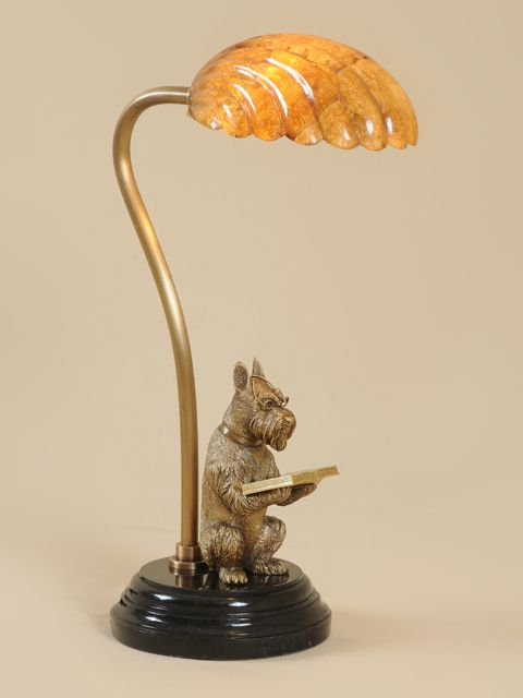 Maitland Smith 1754 875 Antique And Polished Cast Brass Dog Desk Lamp With Tiger Penshell