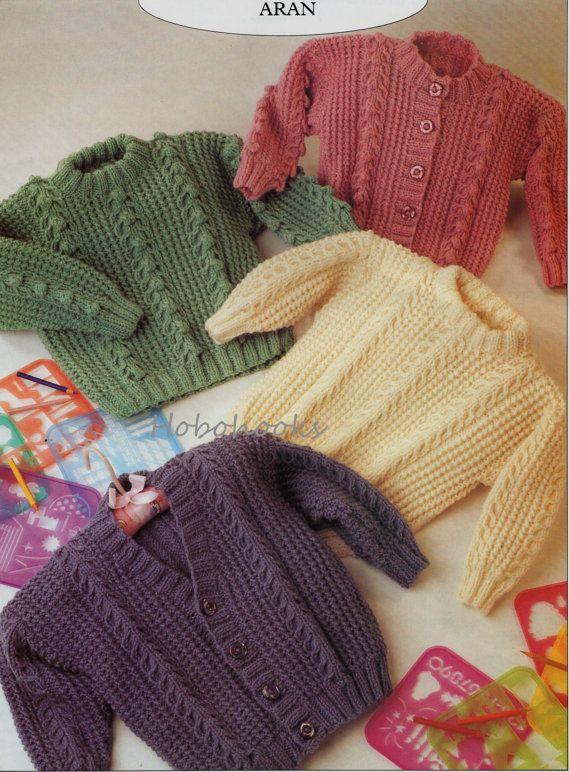 Baby Knitting Pattern Childs Knitting Pattern Aran Jumper Aran